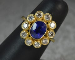 18ct Gold Natural Sapphire and 1.2ct Diamond Cluster Ring