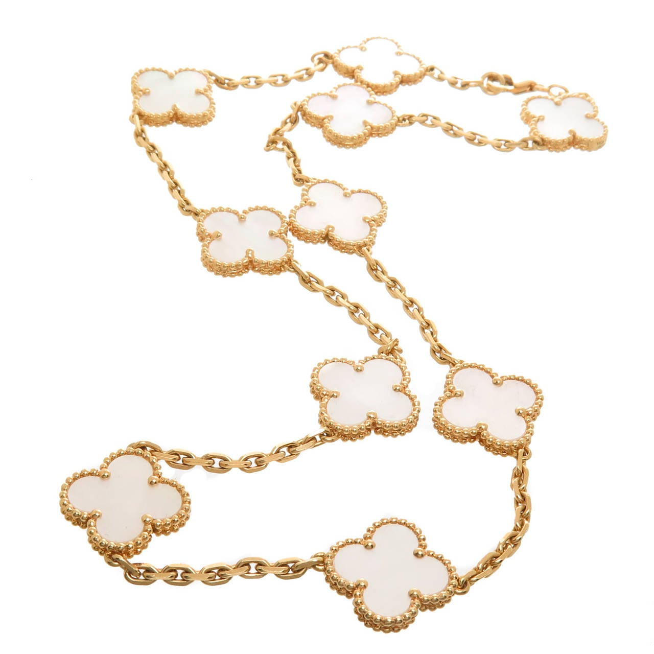 Van Cleef And Arpels Mother Of Pearl Necklace: Van Cleef And Arpels Alhambra Ten Motif Mother Of Pearl