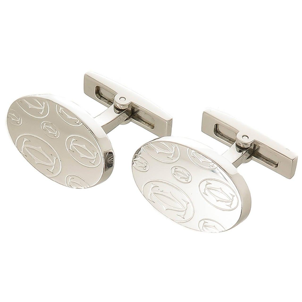 Cartier Double C Logo Sterling Cufflinks For Sale