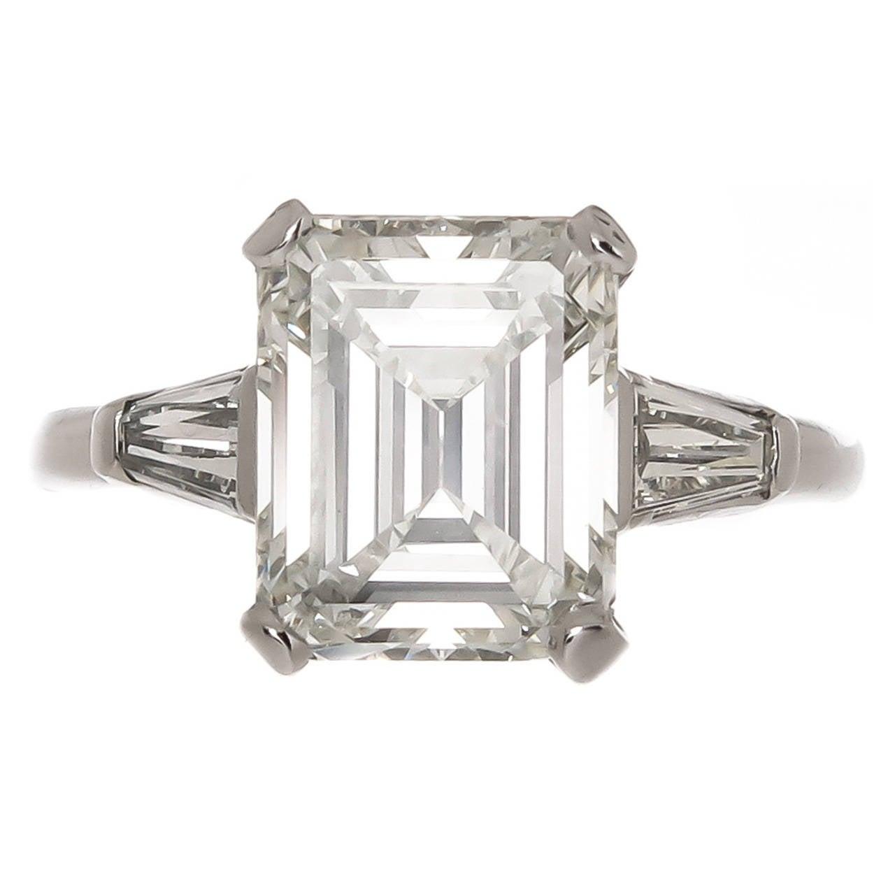 Fine 3 48 Carat Emerald Cut Diamond Platinum Ring at 1stdibs