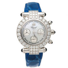 Chopard Lady's White Gold Diamond Imperiale Chronograph Quartz Wristwatch