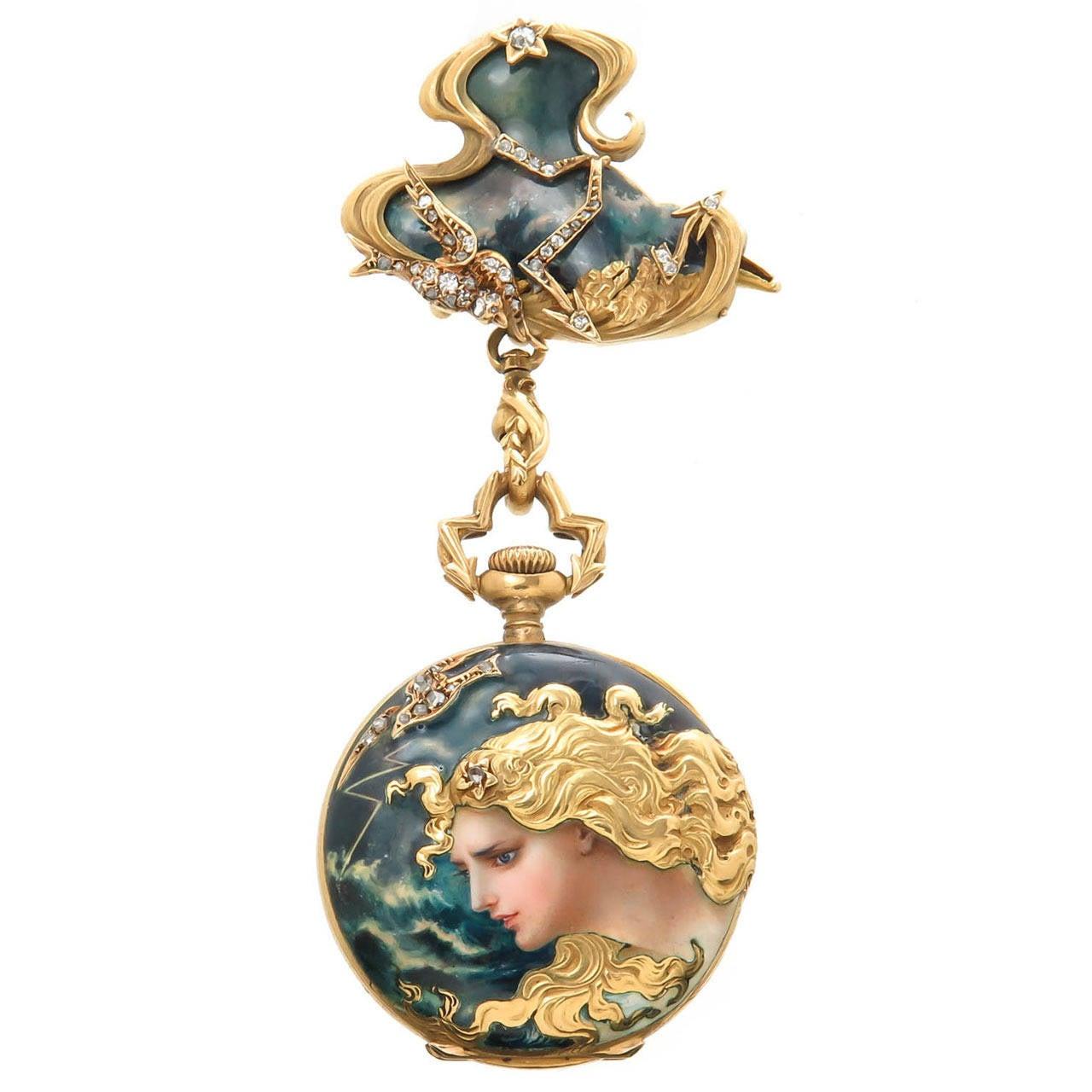 Enamel and Diamond set porcelain dial lapel watch, Haas Neveux
