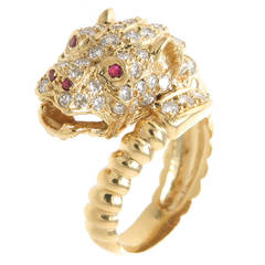 Gem Set Gold Leopard Ring
