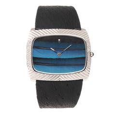 Corum White Gold Diamond Peacock Feather Dial Wristwatch