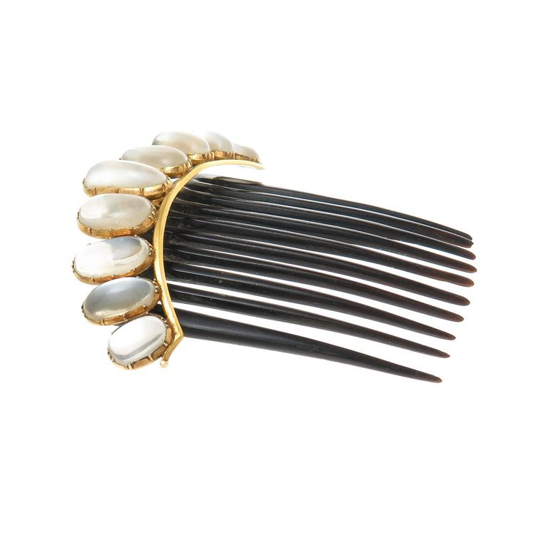 1890s Moonstone Gold Hair Comb 2