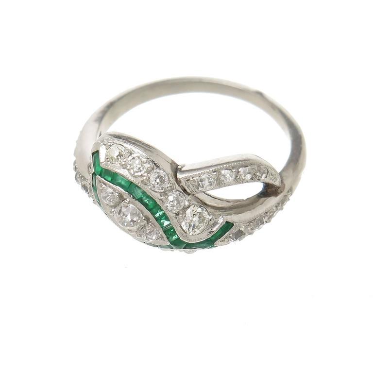 1930s emerald platinum snake ring for sale at 1stdibs