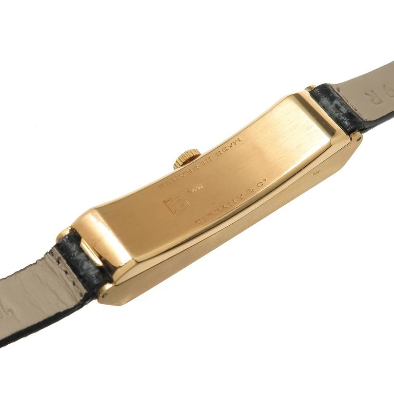 Tiffany & Co. Yellow Gold Elongated Wristwatch In Excellent Condition For Sale In Chicago, IL