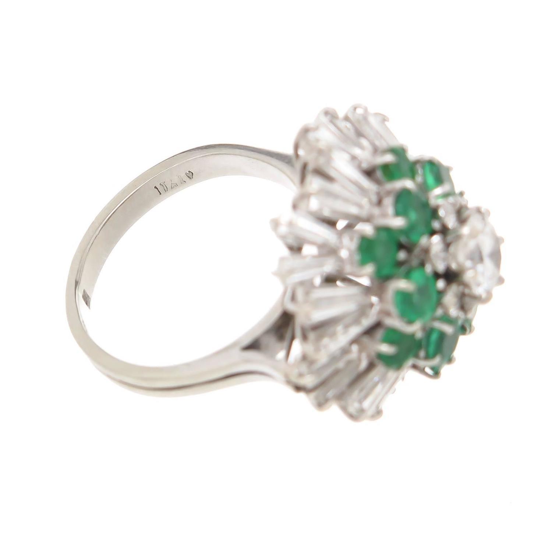 Helena Rubinstein Bequest Diamond Emerald Ballerina Ring