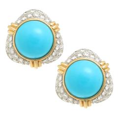 Turquoise Diamond Gold Platinum Ear Clips