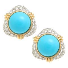 Turquoise Diamond Gold Platinum Ear Clips