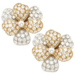 Diamond and Gold Flower Earrings owned and worn by Joan Collins