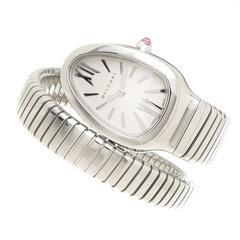 Bulgari Stainless Steel Serpenti Bracelet Snake Quartz Wristwatch