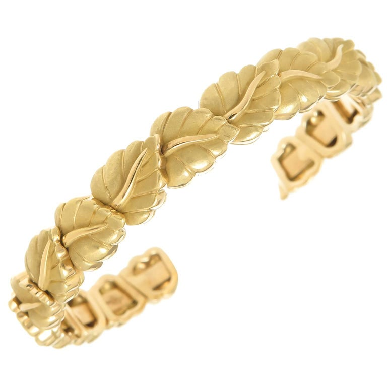 Tiffany & Co. Heavy Yellow Gold Flexible Leaf Bracelet