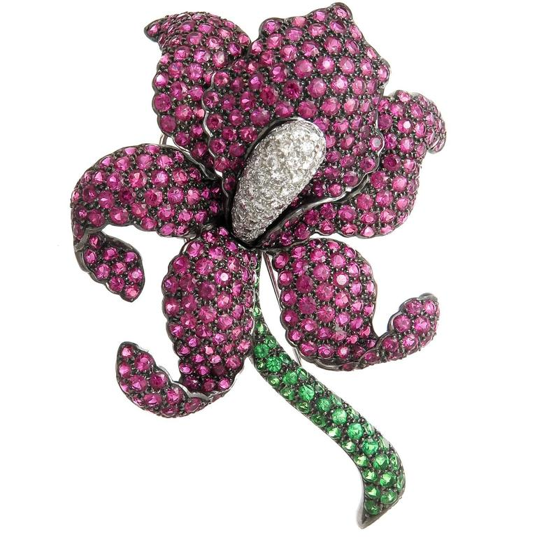 Gem Set Gold Large French Orchid Brooch For Sale