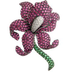 Gem Set Gold Large French Orchid Brooch