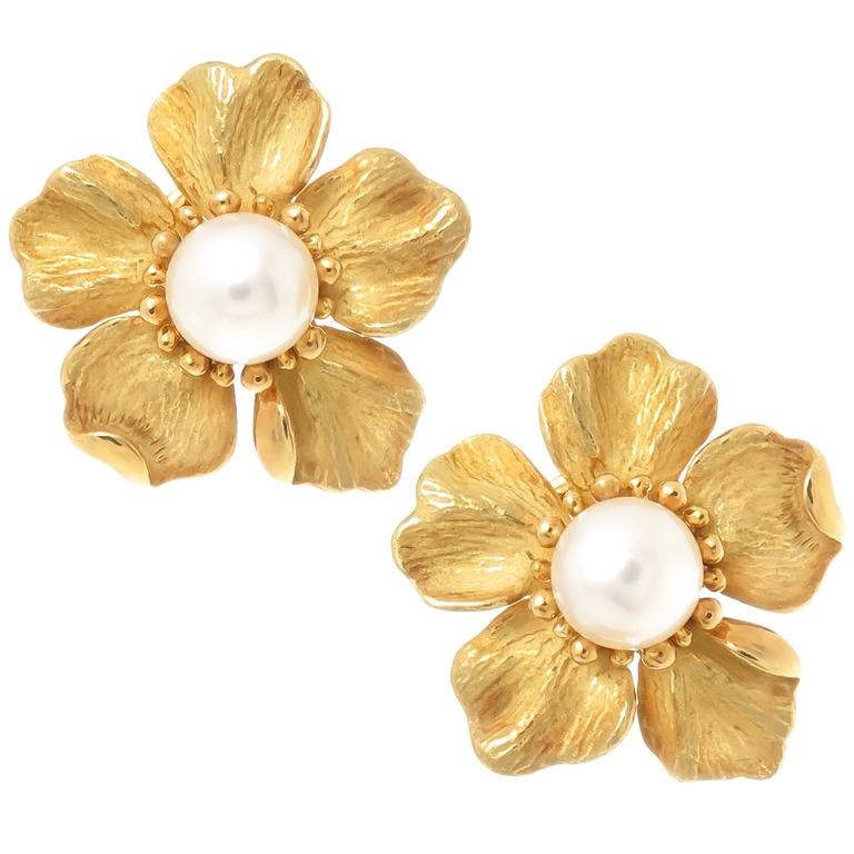 Tiffany Co Pearl Gold Wild Rose Flower Earrings For