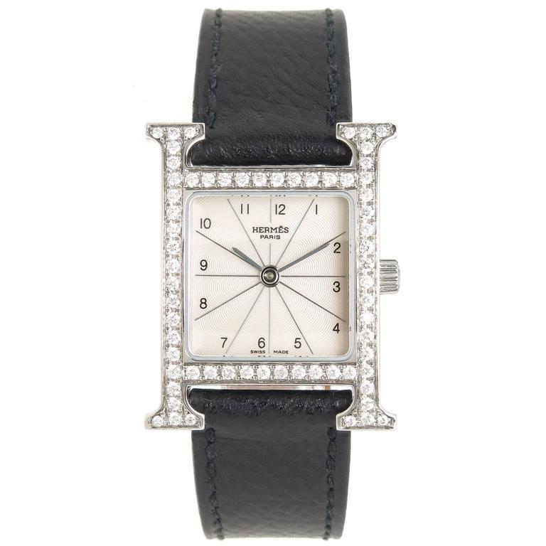 "Hermes Ladies Stainless Steel ""H"" Quartz Wristwatch"