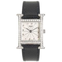 "Hermes Ladies Stainless Steel ""H"" Quartz Wristwatch"