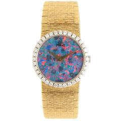 Piaget Lady's Yellow Gold Diamond Opal Dial Manual Wind Wristwatch