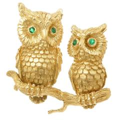 1990s Kurt Wayne Gem Set Gold Owl Brooch