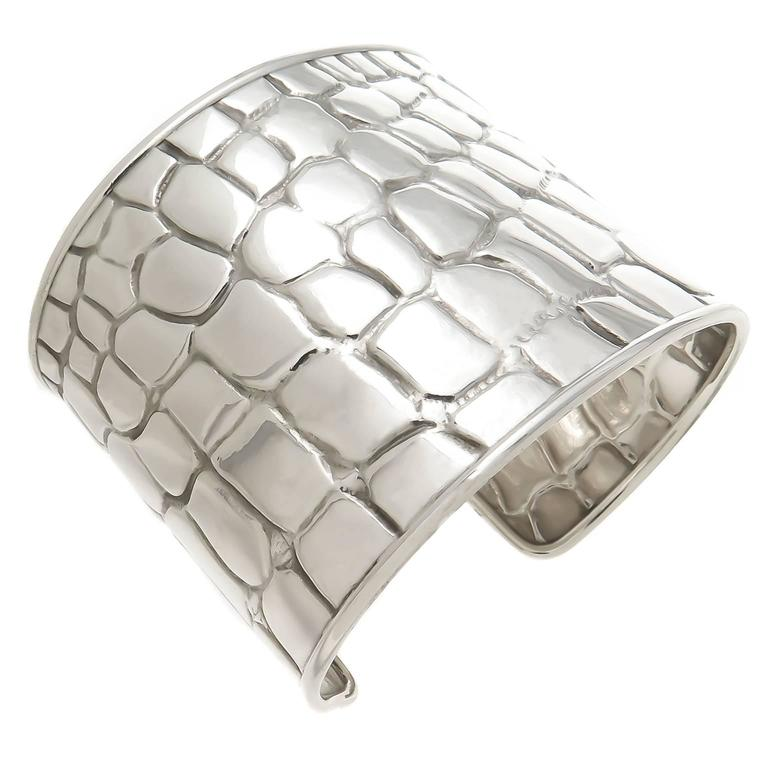 Circa 2000 Tiffany Company Sterling Silver Wide Cuff Bracelet With A Crocodile Textured Pattern