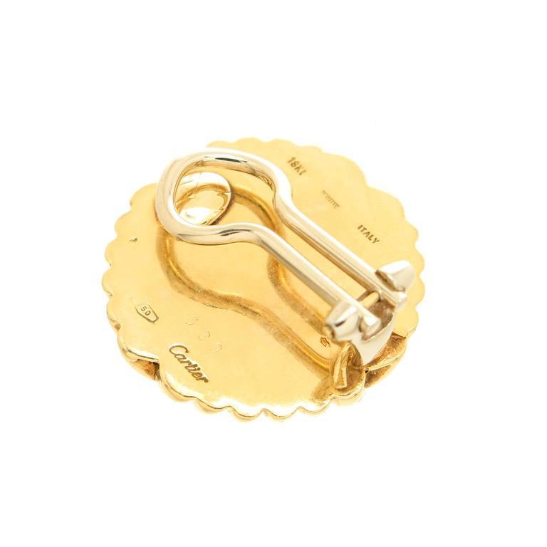 Women's Cartier Gold Button Earrings For Sale