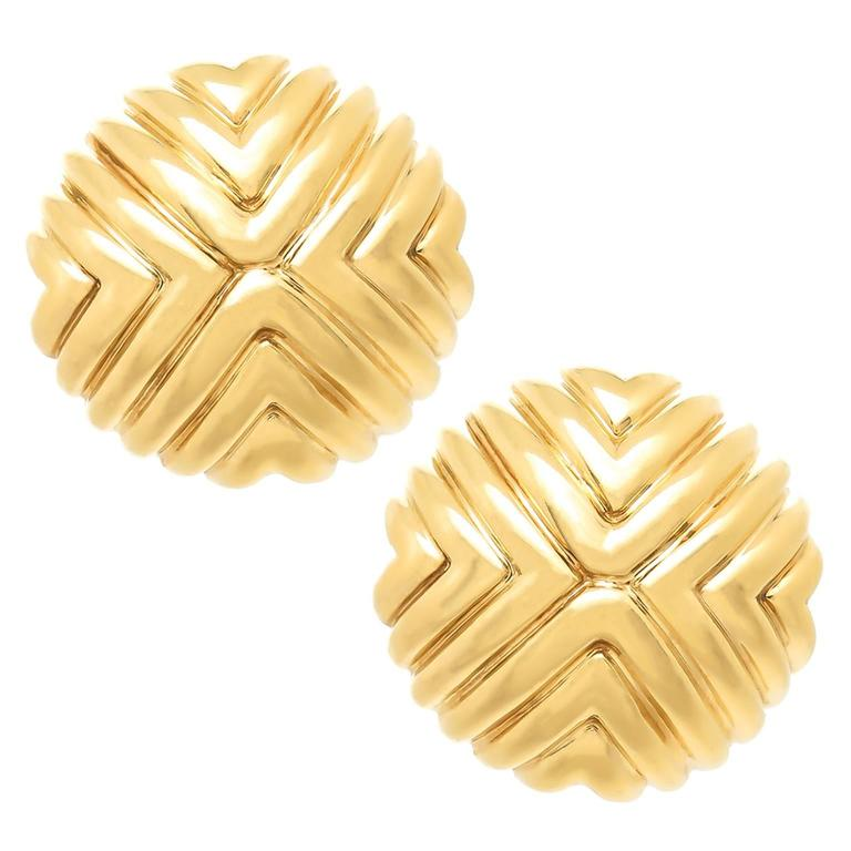 Cartier Gold Button Earrings For Sale
