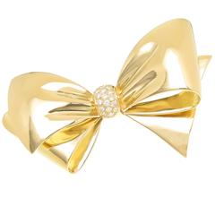 Van Cleef & Arpels Diamond Gold Bow Brooch