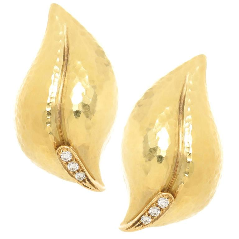 Tiffany & Co. Paloma Picasso Diamond Gold Hammered Leaf Earrings