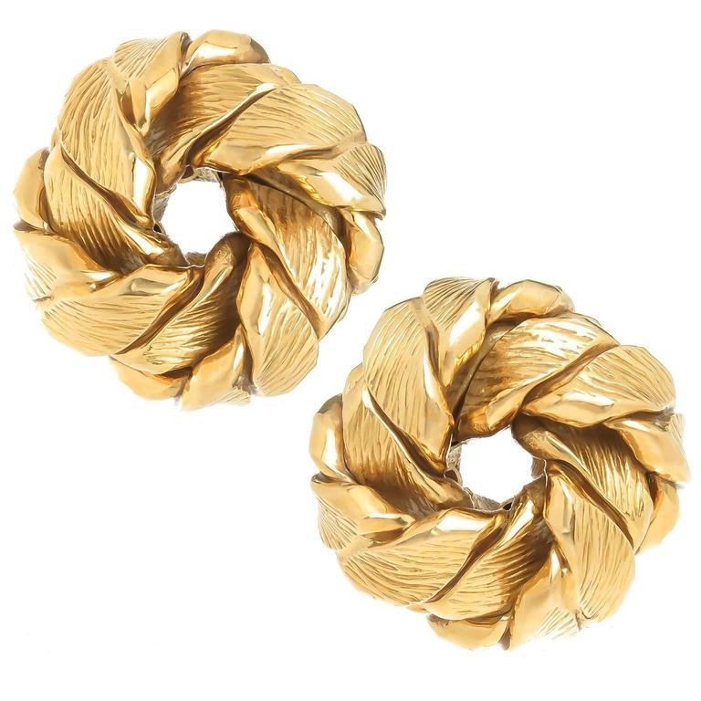 1990s Tiffany & Co. Gold Circle Earrings