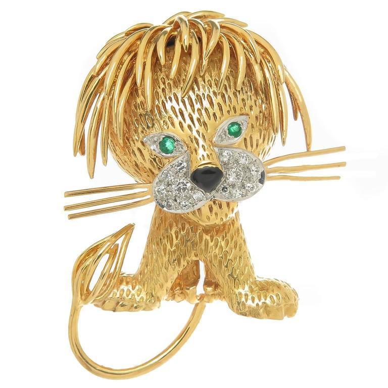 1970s Van Cleef & Arpels Gem Set Gold Lion Clip Brooch