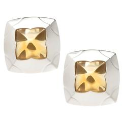 Bulgari Pyramid Citrine Gold Earrings