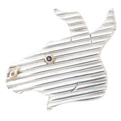 1980s Tiffany & Co. Sterling Gold Donkey Brooch