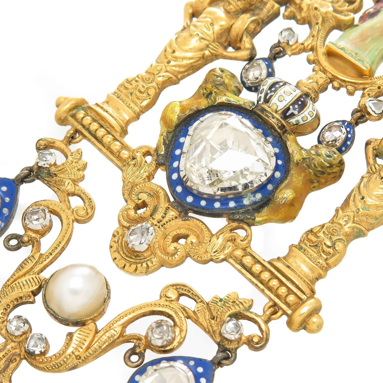 Large Gold Enamel And Diamond Gothic Revival Neckalce For