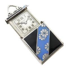 1940 Rolex Rare Enamel Silver Travel Watch