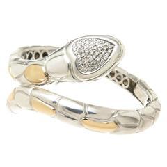 Sonia B Diamond Silver Gold Snake Bracelet