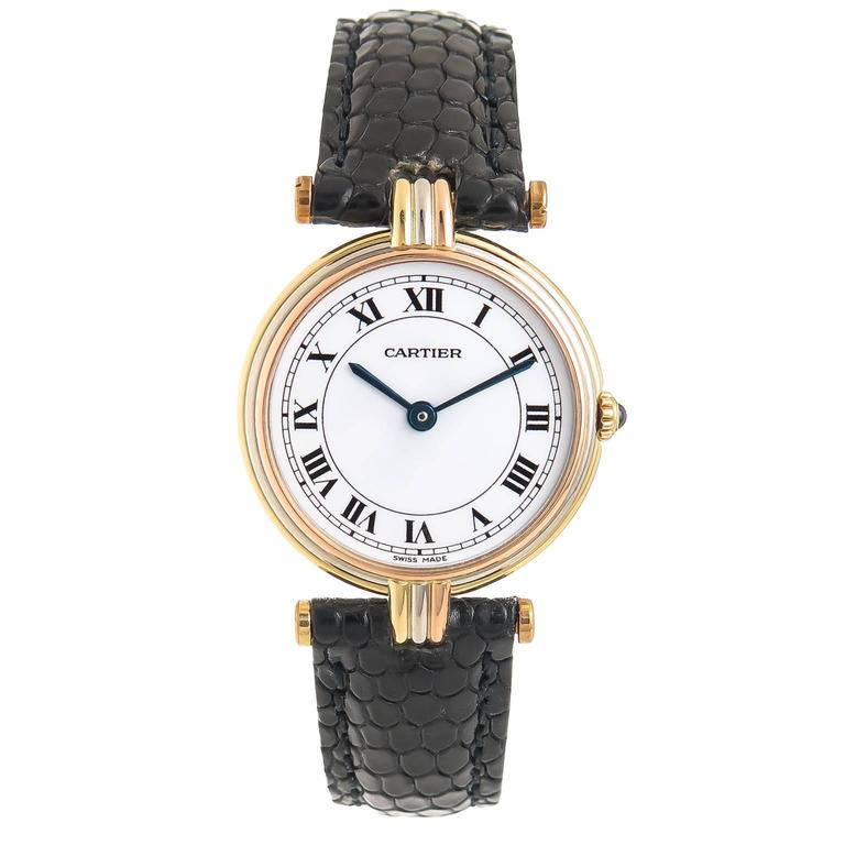 Cartier Ladies Tricolor Gold Vendome Quartz Wristwatch 1