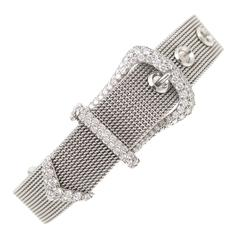 Tiffany & Co. Diamond Platinum Mesh Buckle Bracelet