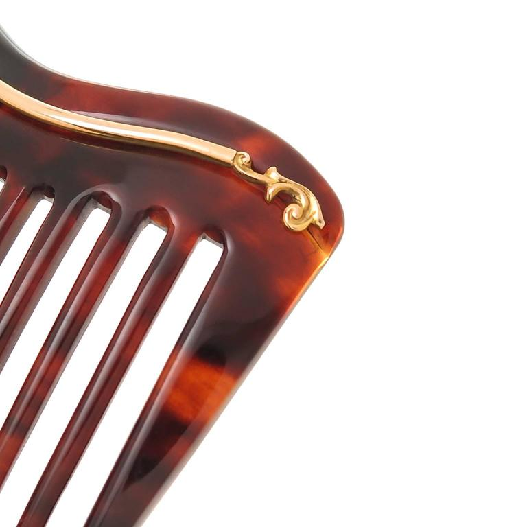 Late Victorian Tortoise Shell Natural Pearl Gold Hair Comb 5