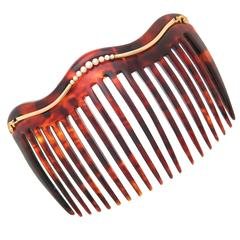 Late Victorian Tortoise Shell Natural Pearl Gold Hair Comb