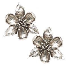 1980s Tiffany & Co. Large Sterling Dogwood Earrings