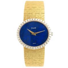 Piaget yellow Gold Diamond and Lapis mechanical Wrist watch