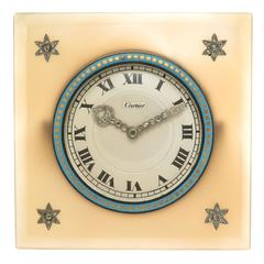 Cartier EWC Agate Enamel and Diamond set Desk Clock