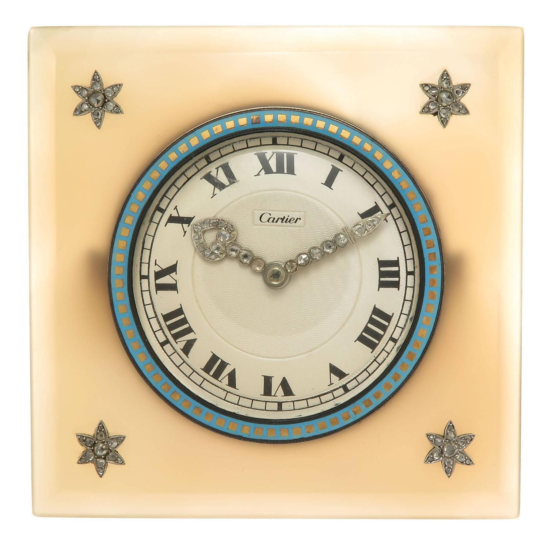 Cartier ewc agate enamel and diamond set desk clock for sale at cartier ewc agate enamel and diamond set desk clock for sale at 1stdibs amipublicfo Images
