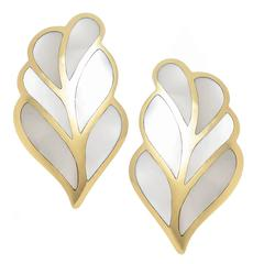 Tiffany & Company Gold and Mother of Pearl inlay Leaf Earrings