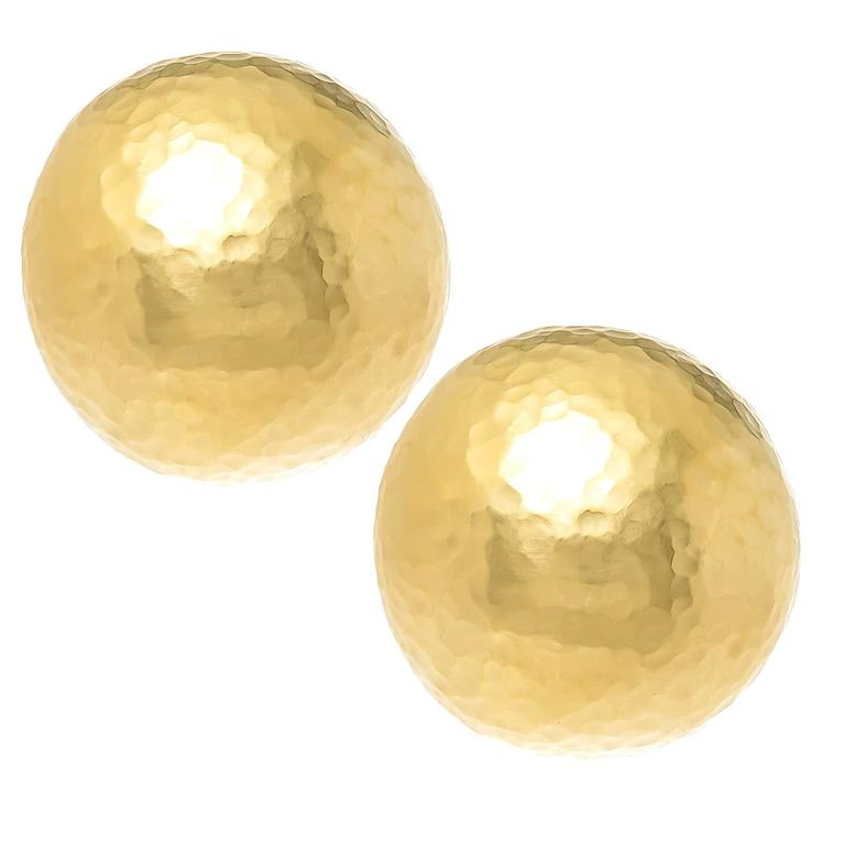 Tiffany Company Paloma Pico Large Gold Hammered Earrings For