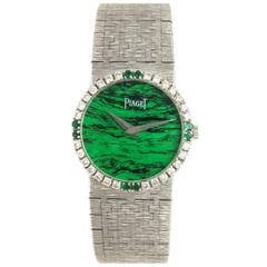 Piaget Malachite Dial Diamond White Gold Mechanical Ladies Wrist Watch