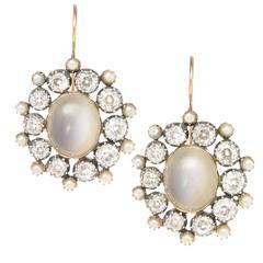 Georgian Gold Silver Diamond Gemstone Memorial Earrings
