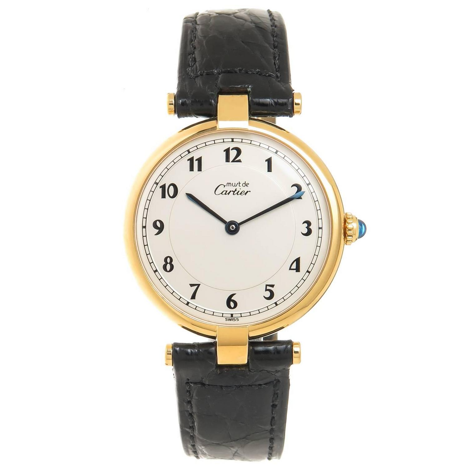 cartier large vermeil must de cartier vendome quartz wrist watch at 1stdibs. Black Bedroom Furniture Sets. Home Design Ideas