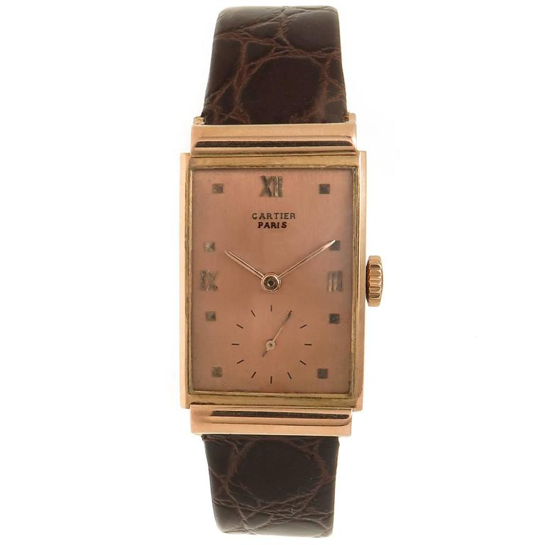 Patek Philippe Retailed by Cartier Rose Gold Manual Wristwatch, circa 1940s